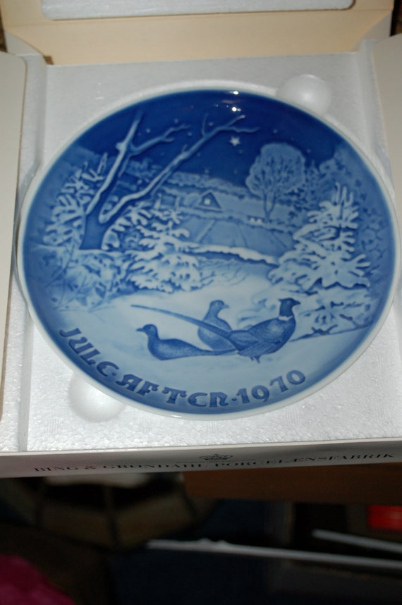 Vintage Bing & Grondahl Pheasants in the Snow Christmas 1970 Collectors Plate