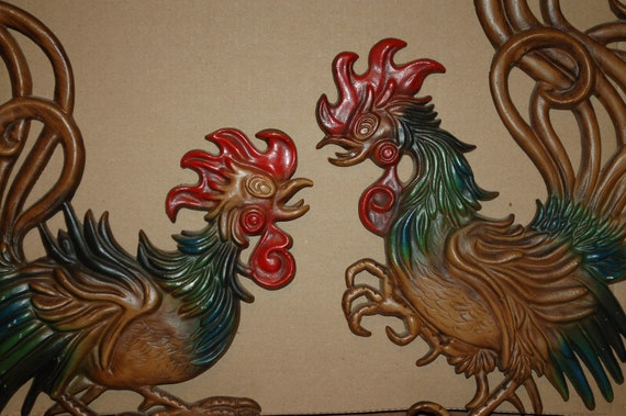 Cock fighting paper wall