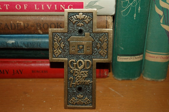 """Brass Cross """"God Bless Our Home"""" Wall Hanging Door Decoration Religious Home Decor"""