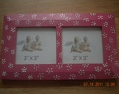 Dual 3x3 Painted Picture Frame Handpainted Hot Pink and White