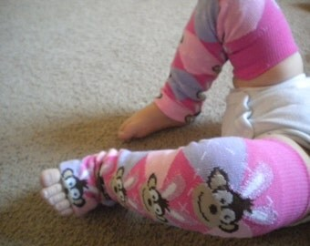 Baby Legwarmers Easter Bunny Monkey Pink Purple Argyle READY TO SHIP