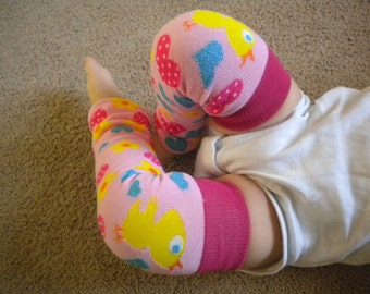 Baby Legwarmers Little Chickie Hearts and Flowers Hot PInk, Pink, Blue, and Yellow  READY TO SHIP
