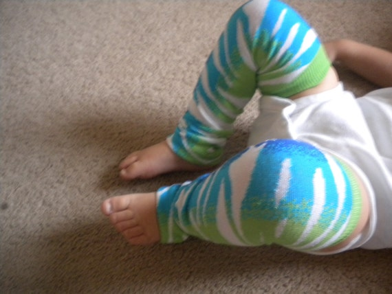 Baby Legwarmers Shades of Blue, Green and White Zebra Stripes READY TO SHIP