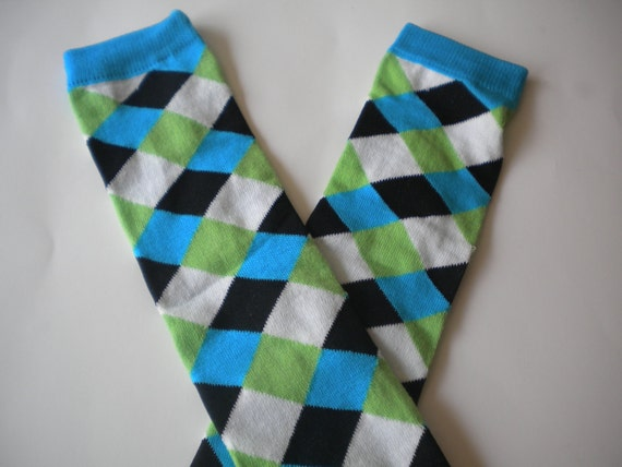 Baby Legwarmers Hot Neon Blue, Green, Black, and White Diamonds READY TO SHIP