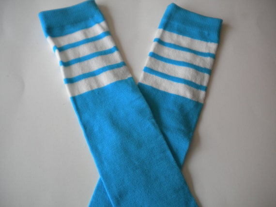 Baby Legwarmers Hot Neon Blue Turquiose with Sporty White Stripes READY TO SHIP