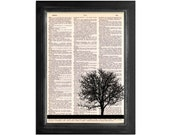My Friend The Tree - Art Print on Vintage Dictionary Paper - 8x10.5 Tree Silhouette Art