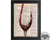 Serving Red Wine - Cocktails in the Afternoon Series - printed on Vintage Dictionary Paper - 8x10.5 - Dictionary Art Print