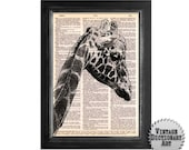 Lovely Giraffe Art - printed on beautifully upcycled Vintage Dictionary Paper - 8x10.5 - Dictionary Art Print