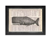 The Mighty Whale - Ocean Life Series - Print on Vintage Dictionary Paper - 8x10.5