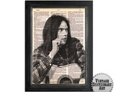 Neil Young - The Musician Series - Printed on Vintage Dictionary Paper - 8x10.5