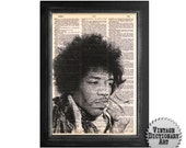 Jimi Hendrix The Thinker - Printed on Vintage Dictionary Paper - 8x10.5