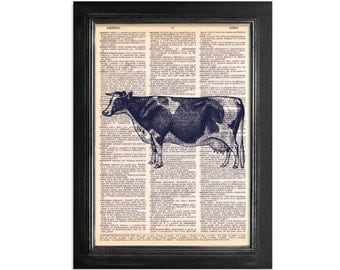 The Farm Cow - Print on Vintage Dictionary Paper - 8x10.5
