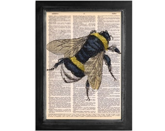 Bumble Bee printed on Recycled Vintage Dictionary Paper - 8x10.5 Bee Art Print