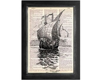 The Great Cartier Ship - Nautical Ship Design Printed on Recycled Vintage Dictionary Paper - 8x10.5