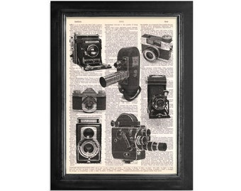 Vintage Camera Collage of Black & White Cameras - Printed on Vintage Dictionary Paper - 8x10.5
