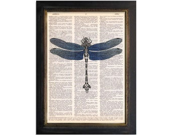 Blue Winged Dragonfly - Printed on Vintage Dictionary Paper - 8x10.5