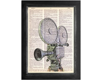 Movie Camera Colorful Art - Print on Vintage Dictionary Paper - 8x10.5