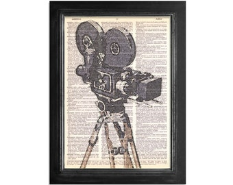 Movie Camera and Tipod Watercolor Close Up - Printed on Vintage Dictionary Paper - 8x10.5