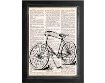 A Beautiful Vintage Bicycle - Bike Art Printed on Vintage Dictionary Paper - 8x10.5