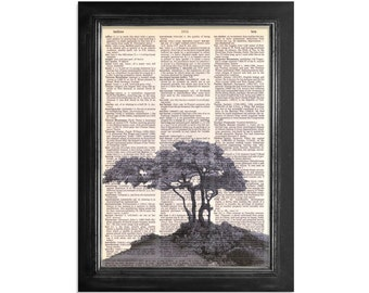 Tree on a Rocky Mountaintop - Printed on Vintage Dictionary Paper - 8x10.5