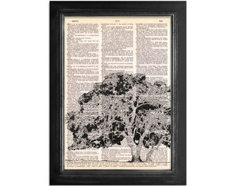 Oak Tree - Print on Vintage Dictionary Paper - 8x10.5