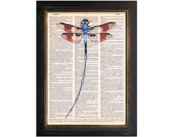 Dragonfly of Beauty - Dragonfly Printed on Vintage Dictionary paper - 8x10.5