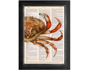 The Mysterious Red Crab - Ocean Life Series - Crab Art Print on Vintage Dictionary Paper - 8x10.5