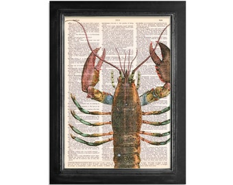 Colorful Lobster Close Up - Ocean Life - Printed on Vintage Dictionary Paper - 8x10.5