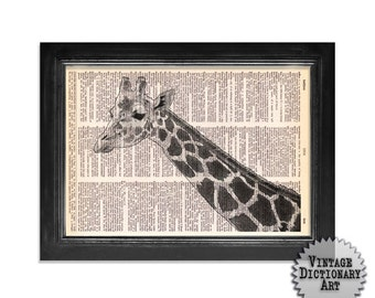 Giraffe printed on beautifully upcycled vintage dictionary paper - 8x10.5