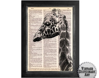 Beautiful Giraffe Art - printed on beautifully upcycled vintage dictionary paper - 8x10.5