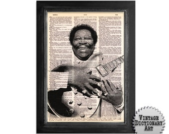 BB King and Lucille - The Musician Series - Blues Guitarist BB King Printed on Vintage Dictionary Paper - 8x10.5