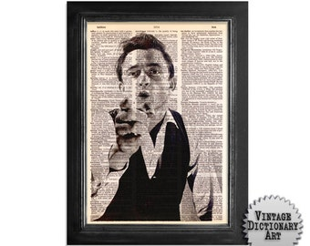 The Young Johnny Cash - The Musician Series - Printed on Vintage Dictionary Paper - 8x10.5 - Dictionary Art Print