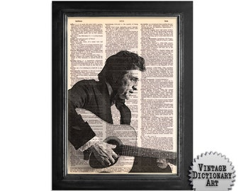 Johnny Cash and Guitar - The Musician Series - Printed on Vintage Dictionary Paper - 8x10.5