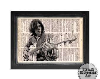 Neil Young and Guitar Horizontal - The Musician Series - Vintage Dictionary Art Print - 8x10.5