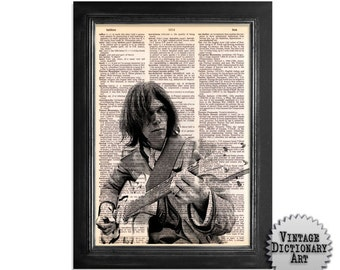 Neil Young and Guitar - The Musician Series - Printed on Vintage Dictionary Paper - 8x10.5