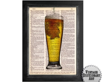 Pint of Beer - Cocktails in the Afternoon Series - Vintage Dictionary Paper Print - 8x10.5 Dictionary Art Print