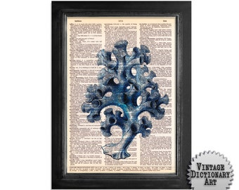 Costal Coral - Blue Sea Coral Series - Printed on Vintage Dictionary Paper - 8x10.5