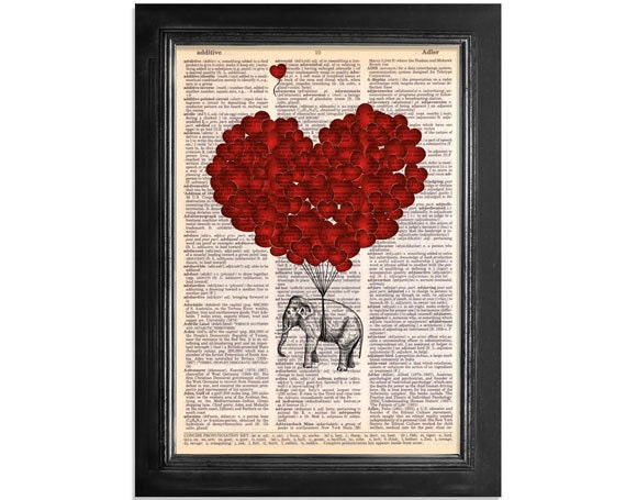 Elephants Fly with Love - printed on Recycled Vintage Dictionary Paper - 8x10.5 - Dictionary Art Print