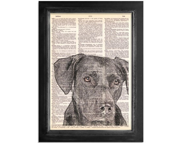 The Black Lab Mans Best Friend - Printed on Vintage Dictionary Paper - 8x10.5 -
