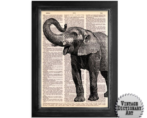 Elephant Art - Printed on Beautifully Upcycled Vintage Dictionary Paper - 8x10.5 - Dictionary Art Print on vintage dictionary book paper