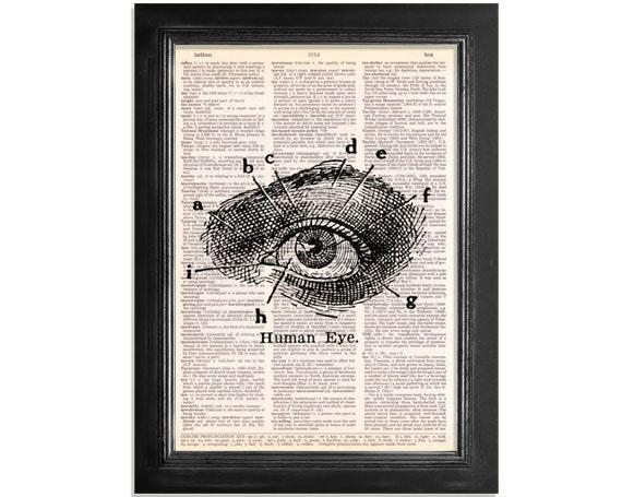 The Human Eye - Anatomy Art Print on Vintage Dictionary Paper - 8x10.5