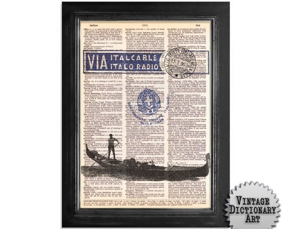 Venice Italy Via Italcable - Printed on Recycled Vintage Dictionary Paper - 8x10.5