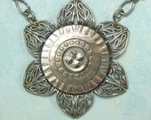 Antique Button Necklace Mother of Pearl with Filagree N-5