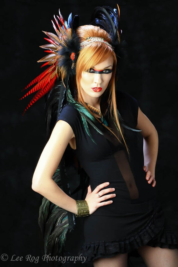 Feather Headdress - The Flame Feather Headdress- HELD for LadyLuna666