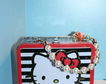 Altered metal lunch box Hello Kitty Purse