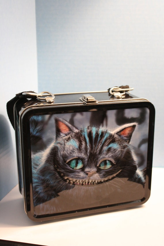 Altered metal lunch box Cheshire Cat Purse