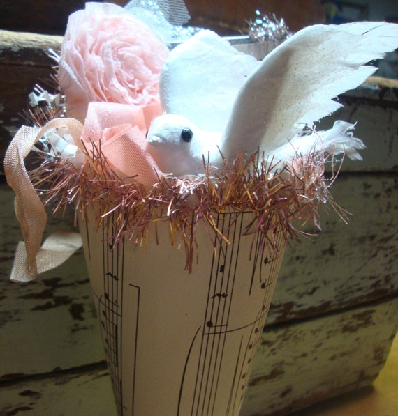 Vintage Pink Spring Nest with Dove and Light Pink Tinsel Garland