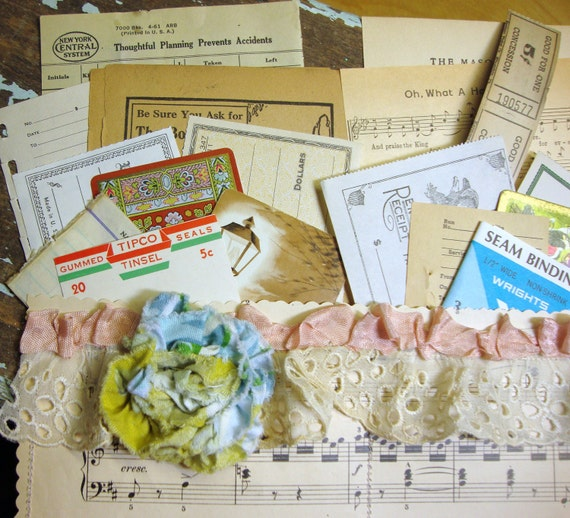 All Vintage Handmade Inspiration Art Kit with Blue and Green Fabric Flower