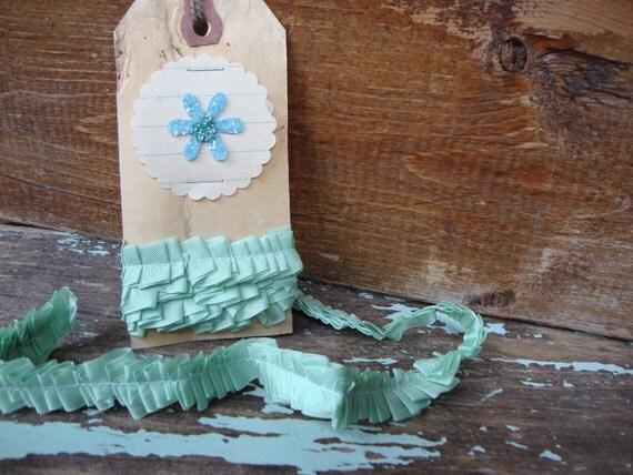 Vintage Mint Green Handmade Seam Binding Ruffle Ribbon Trim