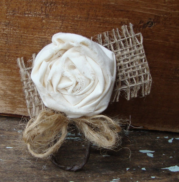 Vintage Creamy White Handmade Muslin Fabric Flower Bouquet Boutonniere with Jute
